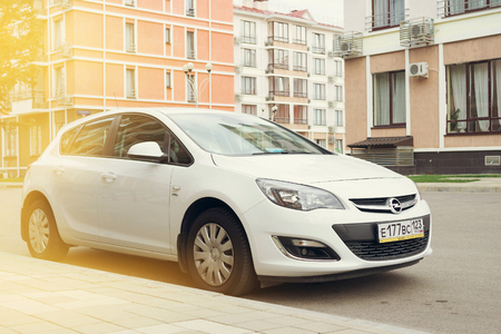 astra: SOCHI, RUSSIA - OCTOBER 11, 2016: Opel Astra parked on the streets of Sochi. Editorial