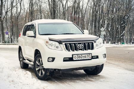 Smolensk, Russia - November 12, 2016: Toyota Land Cruiser parked in winter street. Editorial