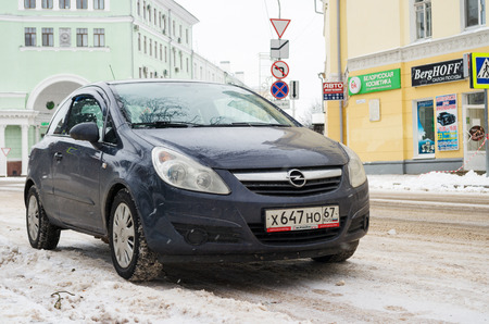 Smolensk, Russia - November 12, 2016: Opel Astra parked in winter near the house. Editorial