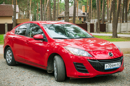 Smolensk, Russia - April 24, 2017: Mazda 3 (Axela) parked in suburbian street.
