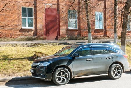 acura: Smolensk, Russia - April 24, 2017: Acura MDX (Honda MDX) parked on the  street of Smolensk City.