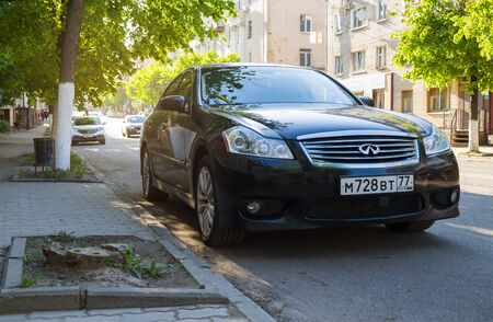 Moscow, Russia - June 08, 2017: New luxury Infiniti Q50 parked on street. Editorial
