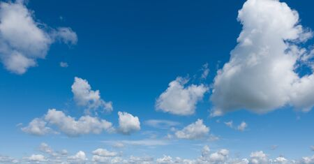 Beautiful blue sky with clouds. Panorama. Stock Photo