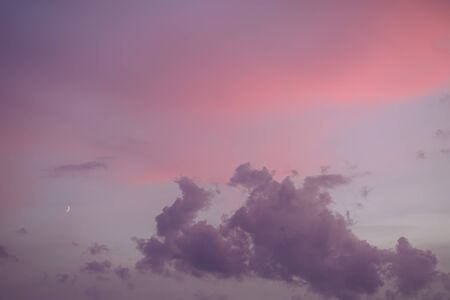 Majestic sunset in pastel tones. Sky and clouds at beautiful evening.