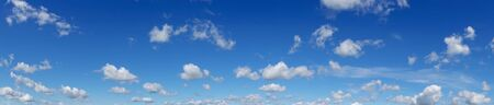Beautiful blue sky with clouds over horizon. Panorama.