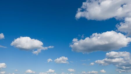 Beautiful blue sky with clouds, panoramic view