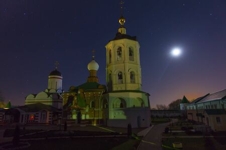 Ancient russian monastery in moonlight. St.Nicholas monastery on Peshnosha river. Stockfoto