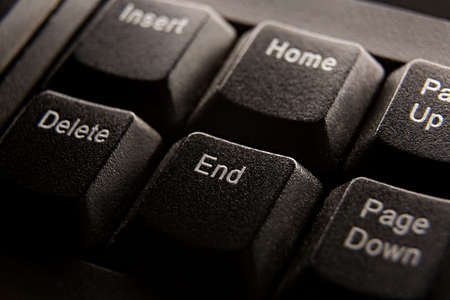 Computer keyboard shortcuts close-up, button end