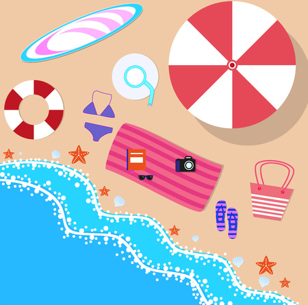 sea side: Summer beach in flat design, sea side and beach items, vector illustration