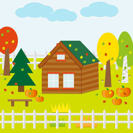 autumn garden: Autumn Garden with House, Pumpkins, Leaves, Trees, Sky. Flat Design Style.