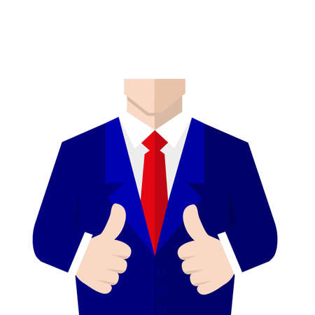 salesperson: Man in suit shows a sign Thumb Up. Vector, flat, illustration