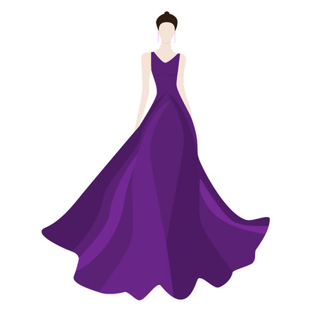 prom dress: Fashion beautiful brunette woman in stylish red evening dress,vector