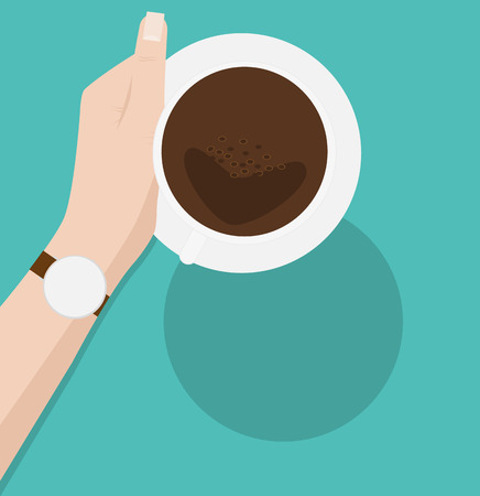 hand hold: Coffee cup in female hand, on green background Illustration