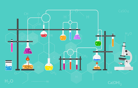 Chemists scientists equipment. flat design workspace concept. Chemistry and physics biology infographic icons. Laboratory lab with alembic vial hourglass dropper