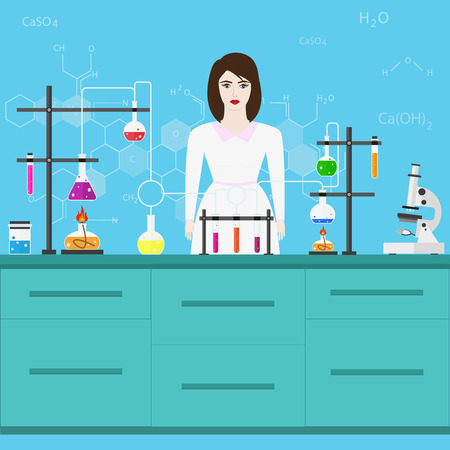 Chemists scientists equipment. Laboratory assistant. flat design workspace concept. Chemistry and physics biology infographic icons. Laboratory lab with alembic vial hourglass dropper Illustration
