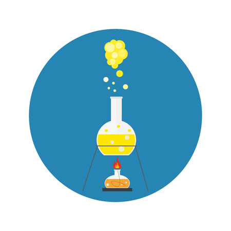 chemically: lab tube icon. Chemists scientists equipment, Chemistry flask with yellow liquid isolated on blue background. vector illustration
