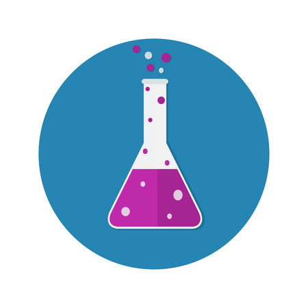 chemically: lab tube icon. Chemists scientists equipment, Chemistry flask with purple liquid isolated on blue background. vector illustration Illustration