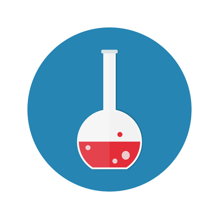 chemically: lab tubes icon. Chemists scientists equipment, Chemistry flask with red liquid isolated on blue background. vector illustration