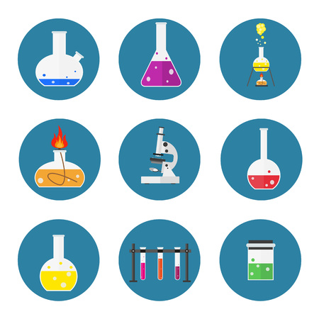 set of laboratory equipment. Chemists scientists equipment. flat design workspace concept. Chemistry and physics biology infographic icons. Laboratory lab with alembic vial hourglass dropper