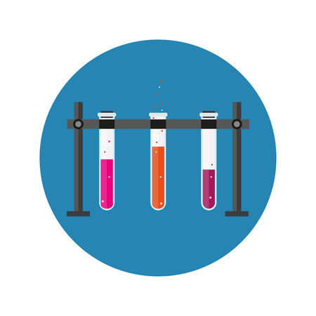 set of laboratory equipment. Chemists scientists equipment. flat design workspace concept. Chemistry and physics biology infographic icons. Laboratory lab with alembic vial hourglass dropper, vector illustration