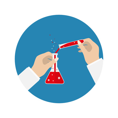 chemically: lab tube icon. Chemists scientists equipment, Chemistry flask with red liquid isolated on blue background. vector illustration. Hands witg tube