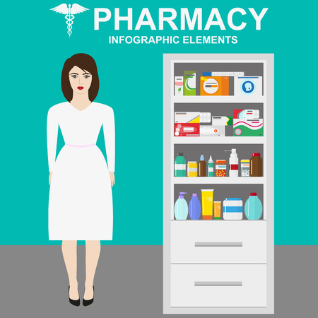 medications: Pharmacy vector infographic elements. Woman pharmacist shows medications on showcase. Pharmacy icons set. Illustration