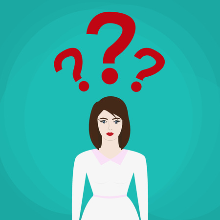 uncertain: uncertain businesswoman in suit. sign. Question mark, Question words vector concept Illustration
