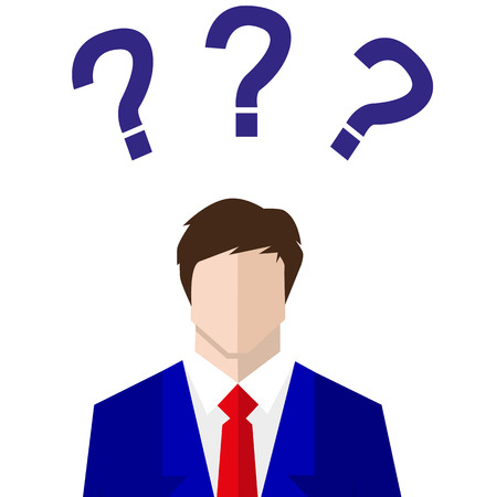uncertain: uncertain businessman in suit. sign. Question mark, Question words vector concept