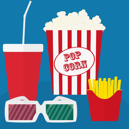 spilled: Spilled popcorn on a blue background, cinema, movies and entertainment concept, soda water in glass