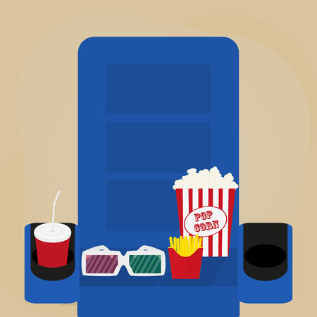 brow: Spilled popcorn on a brow background, cinema, movies and entertainment concept, soda water in glass
