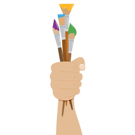 Hand holding paint brushes. set of brushes in different styles