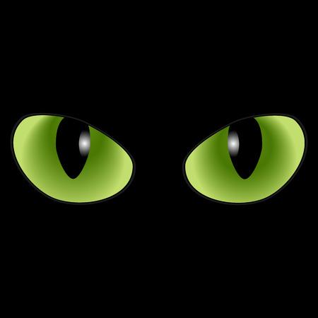 gaze: Green cat eyes on a black background