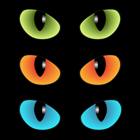 gaze: Green and blue and orange cats eyes on a black background