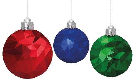 Merry christmas and happy new year xmas balls in poly triangle style. Greeting card.