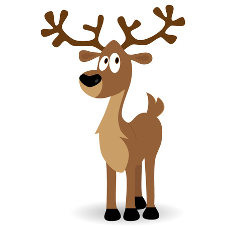 Cute deer fawn cartoon vector illustration isolated on white background Illustration