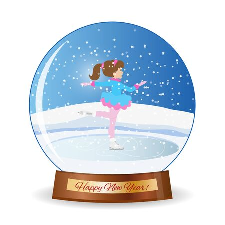 iceskating: Merry christmas glass ball with girl. Happy new year.Winter scene with skating children. Children girl on the winter ice-skating rink.