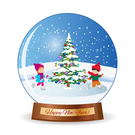 iceskating: Merry christmas glass ball with girl. Happy new year.Winter scene with skating children. Children boy and girl on the winter ice-skating rink. vector illustration Illustration