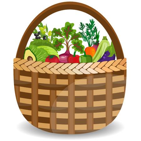 Mand met groenten op wit worden geïsoleerd dat. Vector illustratie.