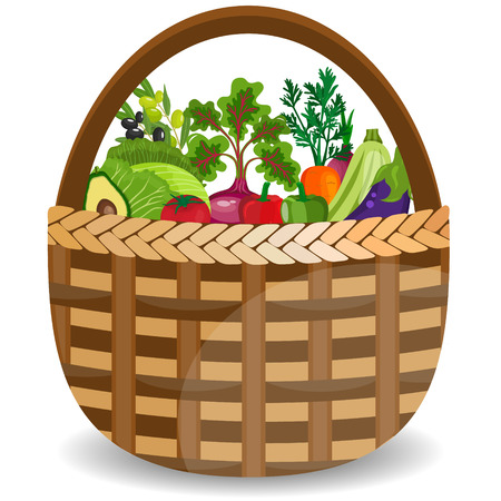 plant stand: Basket with vegetables isolated on white. Vector illustration. Illustration