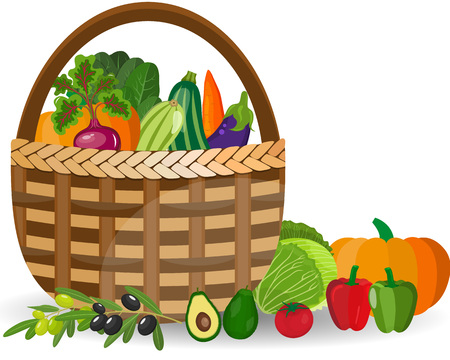 Basket with vegetables isolated on white. Fresh vegetable organic food set still life in basket. Healthy vegetables and vegetarian food banners. Fresh organic food, healthy eating