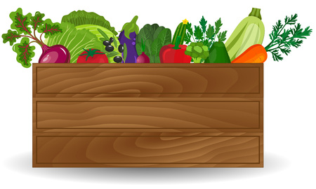 wooden crate: Healthy freshly harvested vegetables in a wooden crate and grocery shopping concept banner. Wooden box with fresh vegetable
