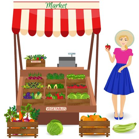 produce: Local vegetable stall. Fresh organic food products shop on shelves. Local market farmer selling vegetables produce on his stall with awning. promote healthy eating concept. Food market.