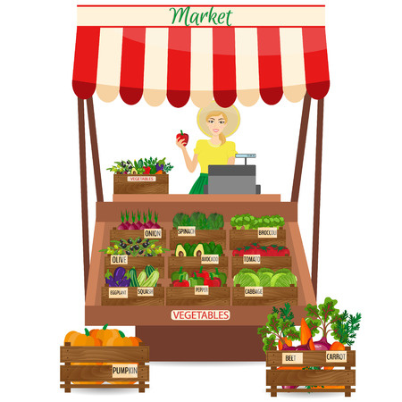 marked boxes: Female worker of grocery store holding a pepper. Local market farmer selling vegetables produce on his stall with awning. promote healthy eating concept. Food market. Illustration