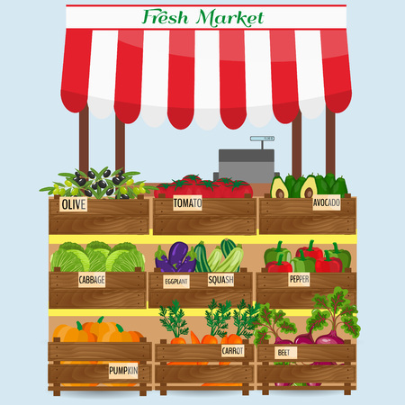 marked boxes: Local vegetable stall. Fresh organic food products shop on shelves. Local market farmer selling vegetables produce on his stall with awning. promote healthy eating concept. Food market.
