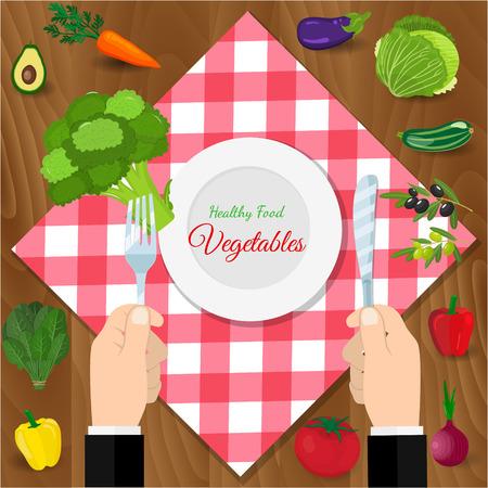 Fresh organic food. Set of vegetarian food . Vector vegetarian organic healthy food cuisine.