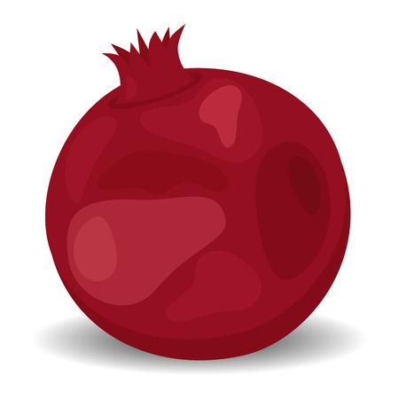 Veggie food, eat vitamins. Juicy pomegranate isolated on white. flat style Illustration