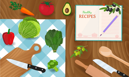Healthy eating and tasty recipes banner with vegetables. Cooking concept. Groceries on wooden table