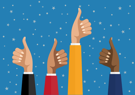 Cheering business people holding many thumbs. Like this. Flat design multicultural group thumbs up. EPS 10 vector.