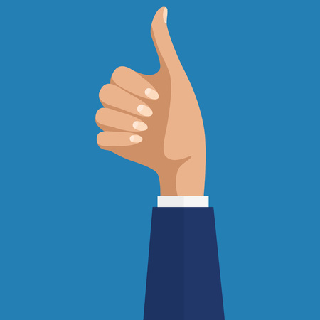 Cheering business people holding many thumbs. Like this. Close-up of woman hand with thumb up in front of the blueboard