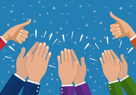 Menschliche Hände klatschen. applaudiere die Hände. Vektor-Illustration in flachen Stil. Geschäftsfrau Hände halten Daumen hoch.